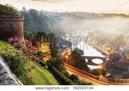 Panorama of Dinan at sunrise. Dinan Brittany France.