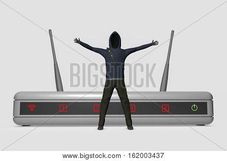 A hacker infiltrates an internet router (3d rendering)