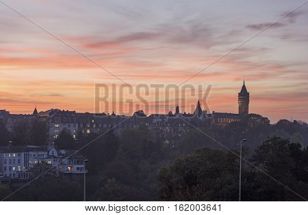 Luxembourg panorama at sunset. Luxembourg City Luxembourg.