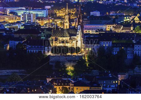 Aerial panorama of Basel at night. Basel Basel-Stadt Switzerland.