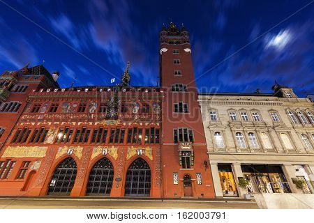 Basel Town Hall at night. Basel Basel-Stadt Switzerland.