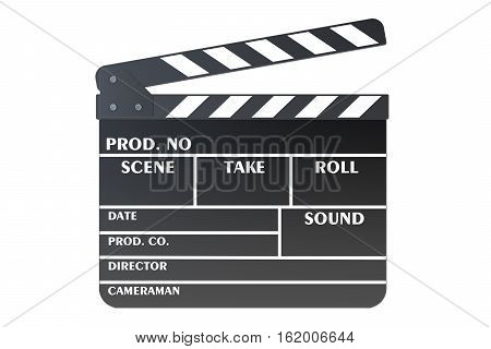Clapperboard 3D rendering isolated on white background