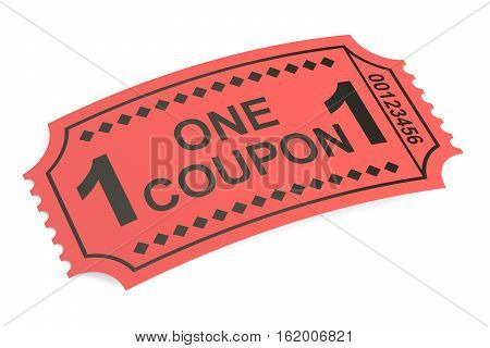 Ticket admit one isolated on white background