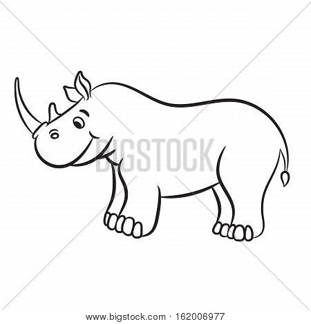 Outlined rhino vector illustration. Isolated on white