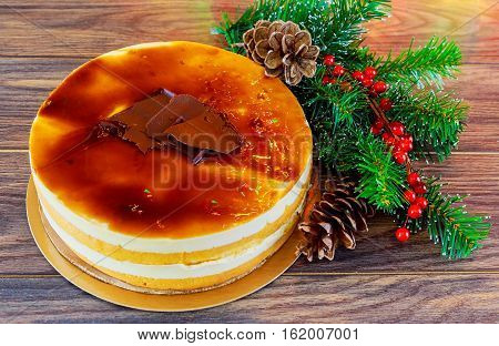 Christmas Composition.  Cake  New Year Decoration