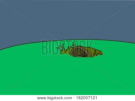 Badger burrow on a green meadow. Blue background.