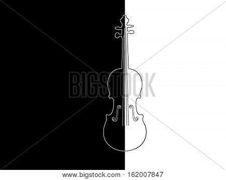 Contour of the violin on a black and white background