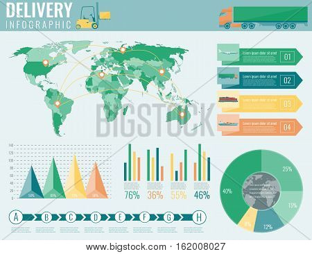 World transportation and logistics. Delivery and shipping infographic elements. Vector illustration