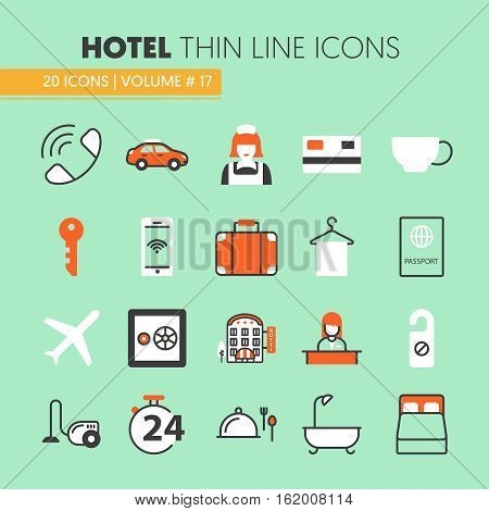 Hotel Accomodation Thin Line Vector Icons Set with Reception and Services