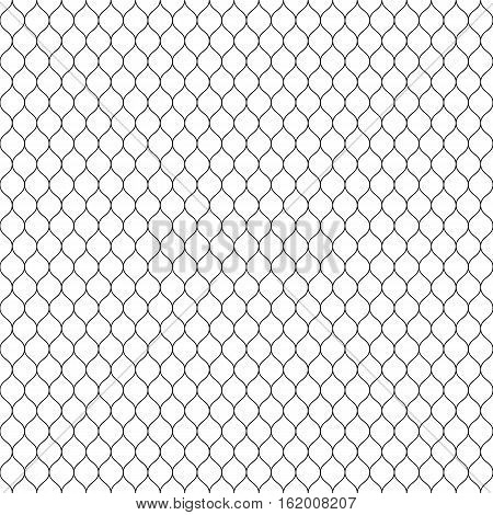 Vector seamless pattern, black thin wavy lines on white backdrop. Illustration of mesh, fishnet, lace. Subtle monochrome background, simple repeat texture. Design for prints, decoration, digital, web, textile, furniture, wrapping