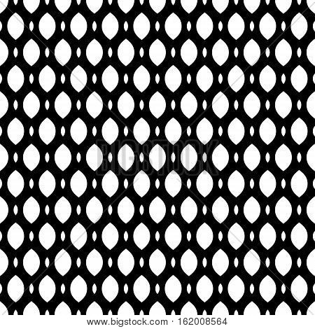Vector monochrome seamless pattern, simple black & white geometric texture, illustration on mesh, lattice, tissue structure. Endless abstract background. Design element for prints, decoration, digital, textile, furniture, fabric