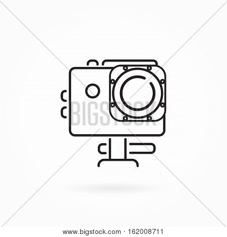 Vector flat illustration, action camera outline monochrome icon. Extreme photo or video cam symbol in thin line. Camera in waterproof case icon, black pictogram isolated on white. Editable design element