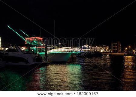 December 16, 2016 - Newport Beach, CA, USA: Colorful holiday lights on sailboats and ships in the Balboa Harbor for the Newport Beach Christmas Boat Parade. Editorial use only.