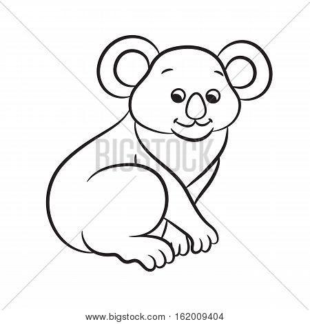 Outlined koala bear vector illustration. Isolated on white