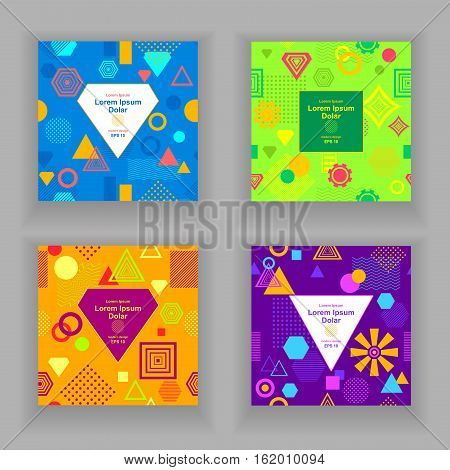 Set Template flyers or frames with Abstract  pattern from geometric form in postmodern Memphis Style on green blue orange lilac for package or for creative design abstract city