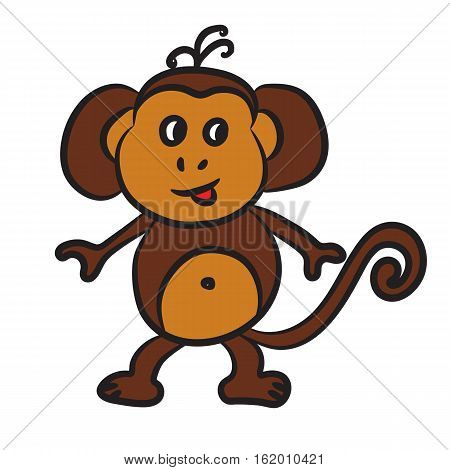 Cute cartoon monkey. Vector illustration on white background