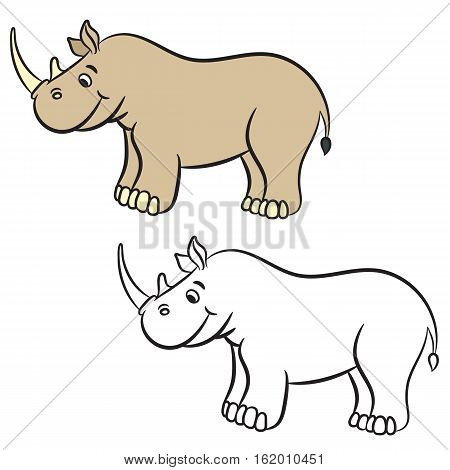 Cute cartoon rhino. Coloring book. Vector illustration