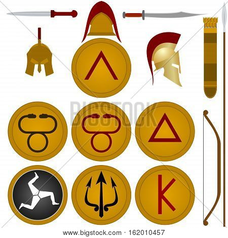 Collection weapons warriors of ancient Sparta. The illustration on a white background.