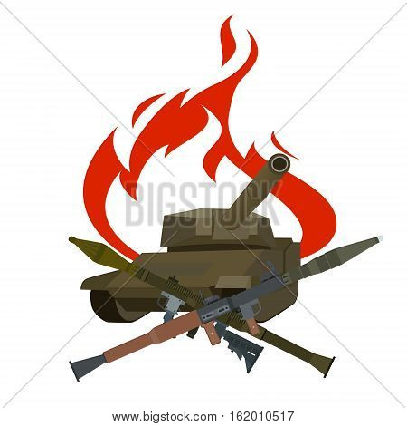 Rockets from RPG-7 on the background of a burning armored vehicles. The illustration on a white background.