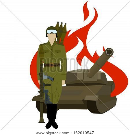 Soviet rocket launcher with an RPG-7 near the destroyed armored vehicles. The illustration on a white background.