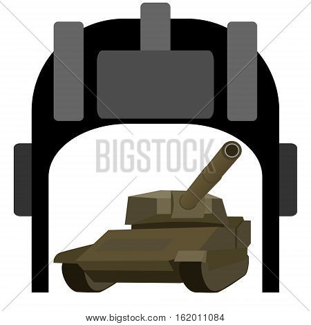 Helmet tanker and tank. The illustration on a white background.