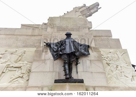 Royal Artillery Memorial (designed by Charles Jagger and Lionel Pearson) - stone memorial at Hyde Park Corner in London dedicated to casualties in the Royal Regiment of Artillery in the First World War. poster