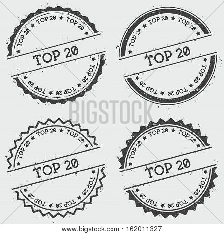 Top 20 Insignia Stamp Isolated On White Background. Grunge Round Hipster Seal With Text, Ink Texture
