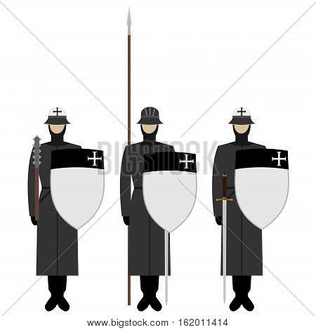 Medieval knights weapons uniforms and jousting signs and symbols. The illustration on a white background.