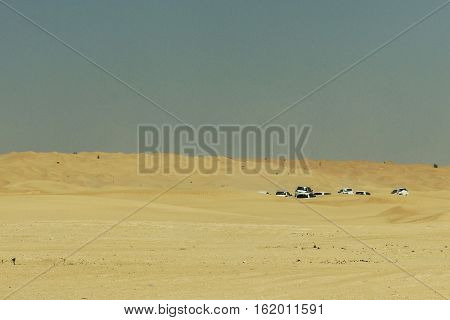 Jeeps traditional Safari Dune Bashing with tourists Oman Ubar in Desert Rub al Khali 4