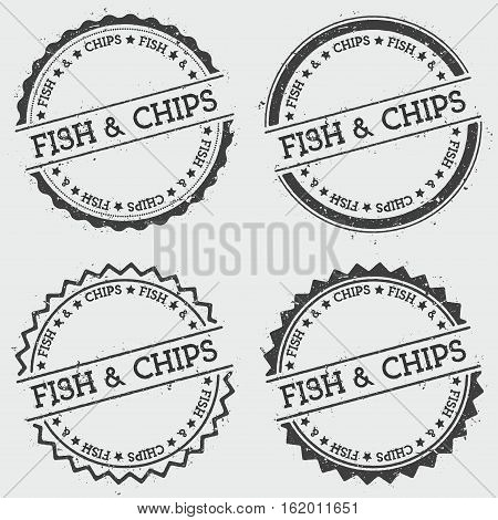Fish & Chips Insignia Stamp Isolated On White Background. Grunge Round Hipster Seal With Text, Ink T