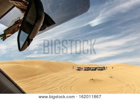 Jeeps traditional Safari Dune Bashing with tourists Oman Ubar in Desert Rub al Khali 11