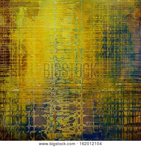 Abstract retro design composition. Stylish grunge background or texture with different color patterns: yellow (beige); brown; green; blue; purple (violet)