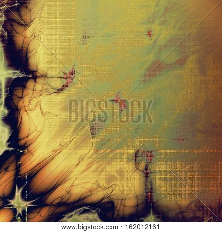 Tinted vintage texture, aged decorative grunge background with traditional antique elements and different color patterns: yellow (beige); brown; green; gray; purple (violet); pink