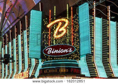 Las Vegas - Circa December 2016: Binion's Gambling Hall and Hotel Neon Signage. Binion's is a casino on Fremont Street II