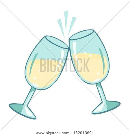 Sparkling pair champagne glasses. Vector illustration, isolated on white background.