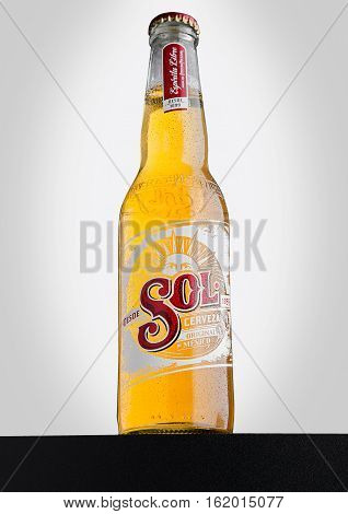 LONDON UK - DECEMBER 15 2016: Bottle of Sol Mexican Beer on white background. From the Cuauhtemoc Moctezuma Brewery in Monterey Mexico it was first introduced in the 1890's as El Sol.
