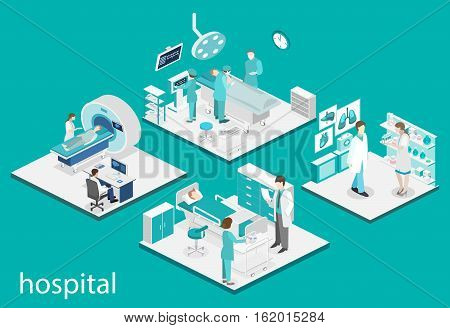 Isometric Flat Interior Of Hospital Room, Pharmacy, Doctor's Office, Waiting , Reception.