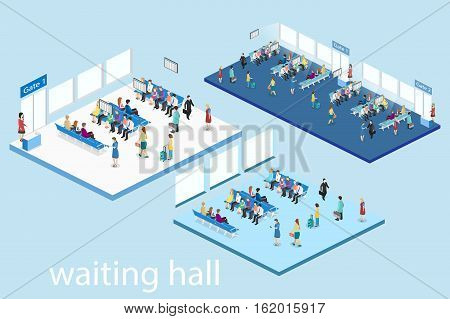 Isometric Flat 3D Vector Interior Of Waiting Room In Airport .