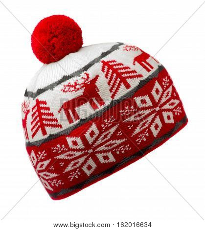 Knitted Hat Isolated On White Background .hat With Pompon .  Red And White Hat .