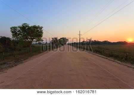 Brazilian dirt road in perspective. Famous Brazilian Transpantaneira dirt road. Pantanal area Brazil