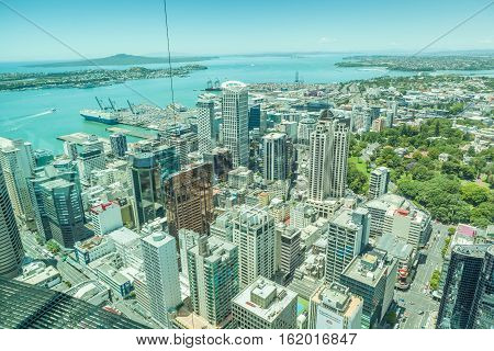 Auckland New Zealand- December 12 2013. Auckland's harbor view from the top of sky tower.