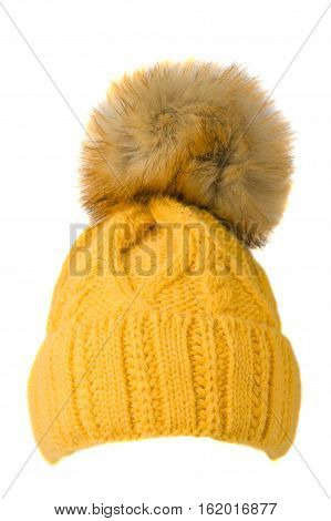 Women's Knitted Hat Isolated On White Background.hat With Pompon.yellow Hat