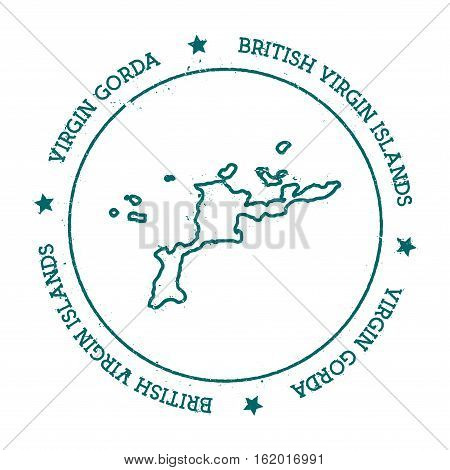 Virgin Gorda Vector Map. Distressed Travel Stamp With Text Wrapped Around A Circle And Stars. Island