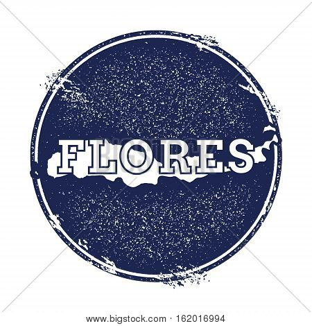 Flores Vector Map. Grunge Rubber Stamp With The Name And Map Of Island, Vector Illustration. Can Be