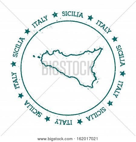 Sicilia Vector Map. Distressed Travel Stamp With Text Wrapped Around A Circle And Stars. Island Stic