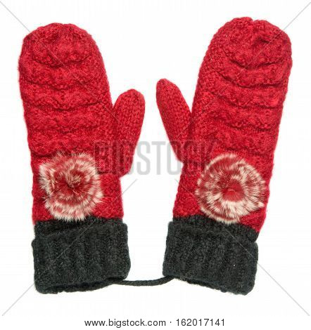 Mittens Isolated On White Background. Knitted Mittens. Mittens Top View.red Black Mittens .