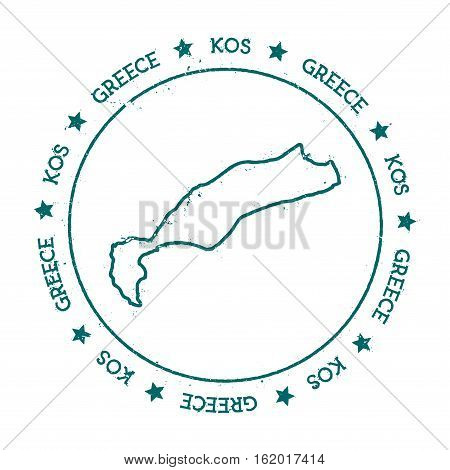 Kos Vector Map. Distressed Travel Stamp With Text Wrapped Around A Circle And Stars. Island Sticker