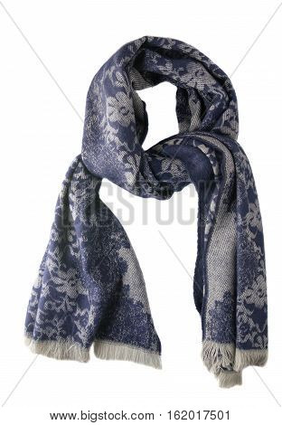 Scarf Isolated On White Background.scarf  Top View .blue Gray Scarf .