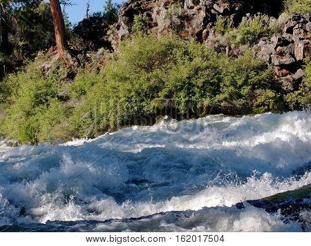 Morning sunlight highlights the rush of whitewater at Dillon Falls on the Deschutes River in Central Oregon on a summer day.