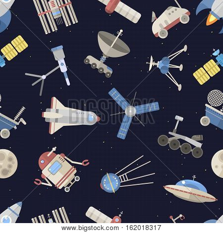 Space pattern vector illustration. Hand drawn rocket background. Flying astronaut ship technology graphic. Astronomy design shuttle transportation to the moon.